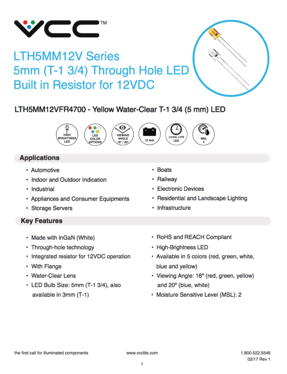 New Product Lthxmm12v Series 3mm 5mm Led With Built In