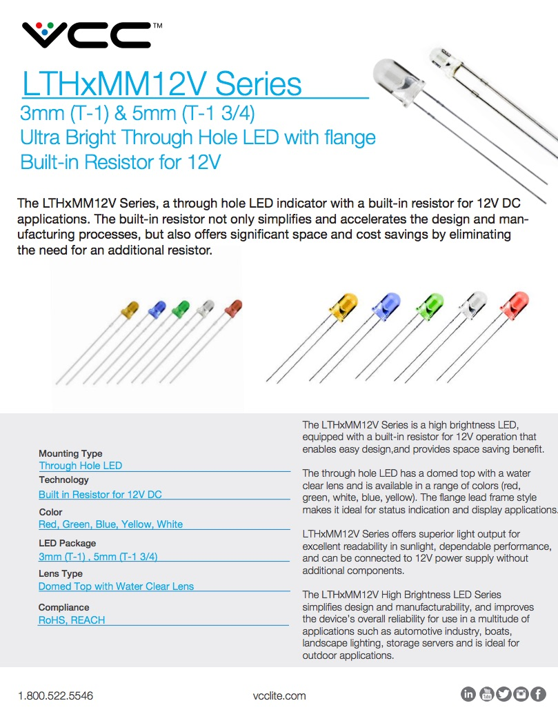 New Product Lthxmm12v Series 3mm 5mm Led With Built In Resistor Resistors Connected Flyer