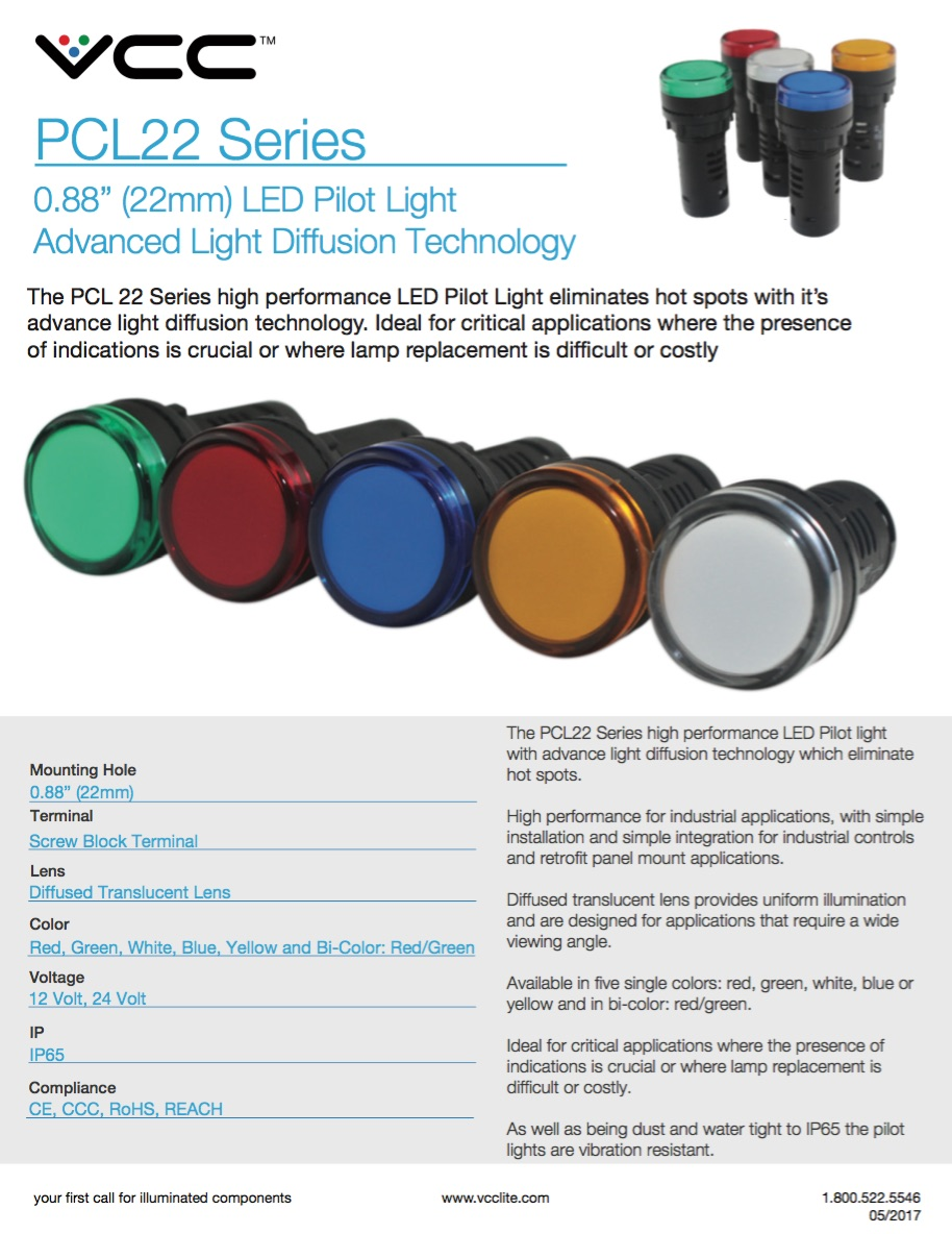 Pcl22 Series 22mm Led Pilot Light Introduction Vcc Product Flyer