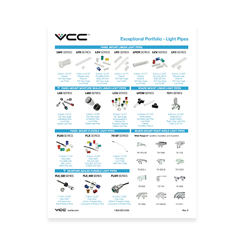 vcc light pipes flexible light pipe custom light pipe board mount