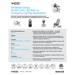 dual ac dc utility bulb flyer with specs and info