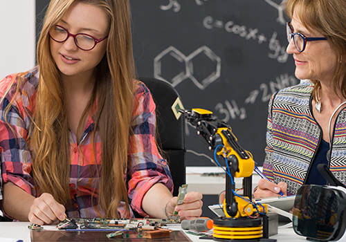 iot connected smart classroom with student and teacher